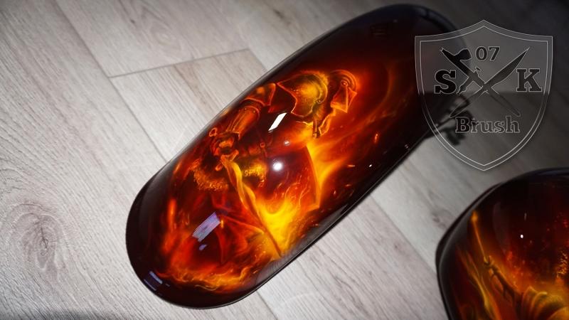 Harley-Davidson-Airbrush-Dragon-Fire-Komplett-Fender