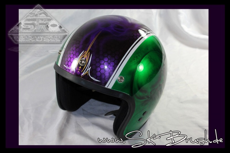 Airbrush-Jet-Helm-Candy-Green-Violet-Pinstripe